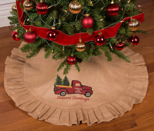 "36"" Natural Tan Christmas Tree Skirt with Ruffled Edge and Vintage Red Truck Delivering Christmas Trees"