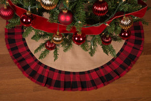 "36"" Rustic Christmas Tree Skirt with Red and Black Check Ruffled Edge by Primitive Home Decors"
