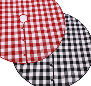 "45"" Christmas Tree Skirt - Black and White or Red and White Check Cotton with Cord Edge and Button Closure"