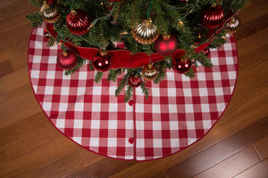 "45"" Red and White Check Christmas Tree Skirt - Cotton with Cord Edge and Button Closure"