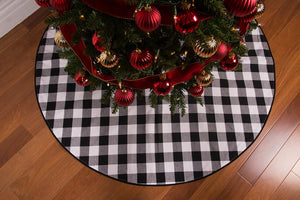 "45"" Black and White Check Christmas Tree Skirt - Cotton with Cord Edge and Button Closure"