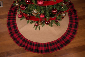 "52"" Rustic Christmas Tree Skirt with Red and Black Check Ruffled Edge"