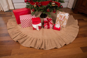 "60"" Natural Tan Christmas Tree Skirt with Ruffled Edge and Cotton Backing"