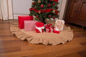 "Christmas Tree Skirt with Ruffled Edge - 36"" and 60"" Rustic Trees"