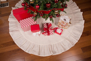"60"" Cream Christmas Tree Skirt with Ruffled Edge and Cotton Backing"