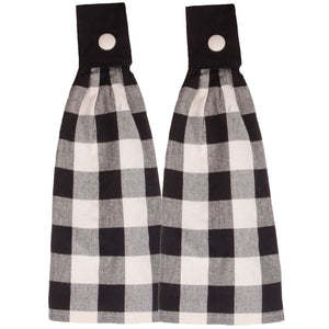 "Buffalo Check Black and Buttermilk 16.5"" x 18.5"" Set of 2 Cotton Tab Towels by Raghu"
