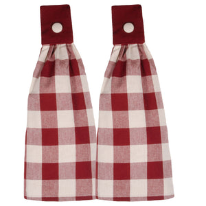 "Buffalo Check Barn Red and Buttermilk 16.5"" x 18.5"" Set of 2 Cotton Tab Towels by Raghu"