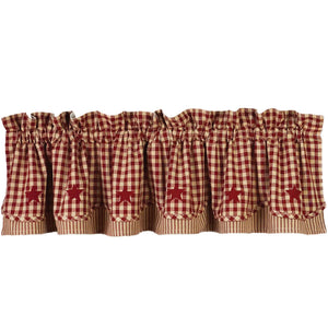 "Heritage House Check with Barn Red Star 72"" x 15.5"" Lined Cotton Valance by Raghu"