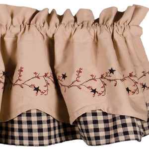 Star Berry Vine Check Fairfield Valance - Red or Black