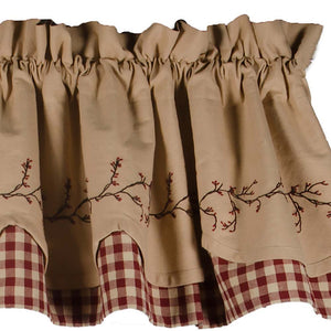 "Berry Vine Check Fairfield Barn Red and Nutmeg 72"" x 15.5"" Lined Cotton Valance by Primitive Home Decors"