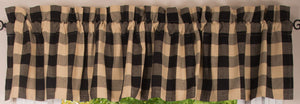 "Buffalo Check Black and Tan 72"" x 14"" Unlined Cotton Valance by Primitive Home Decors"