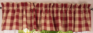 "Buffalo Check Red and Tan 72"" x 14"" Unlined Cotton Valance by Primitive Home Decors"