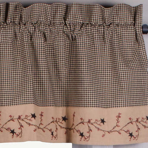 "Star Berry Vine Gingham Check Black and Nutmeg 72"" x 15.5"" Lined Cotton Valance by Primitive Home Decors"