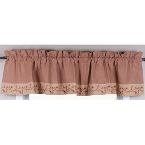 Star Berry Vine Gingham Check Valance - Red or Black