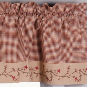 "Star Berry Vine Gingham Check Barn Red and Nutmeg 72"" x 15.5"" Lined Cotton Valance by Primitive Home Decors"