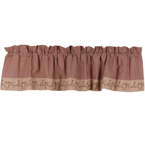 Country Berry Vine Gingham Check Valance - Red or Black