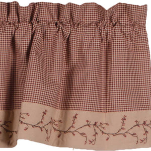Berry Vine Gingham Valance - Barn Red by Raghu