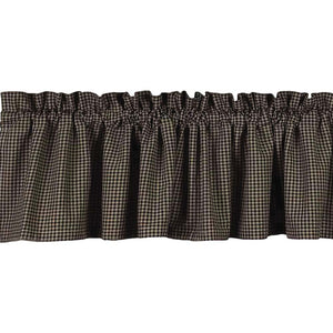 "Newbury Gingham Black and Oat 72"" x 15.5"" Lined Cotton Valance by Raghu"