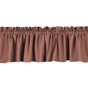 "Newbury Gingham Barn Red and Oat 72"" x 15.5"" Lined Cotton Valance by Raghu"