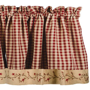 Star Berry Vine Check Valance - Red or Black