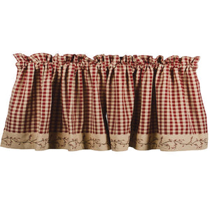 "Berry Vine Check Barn Red and Nutmeg 72"" x 15.5"" Lined Cotton Valance by Primitive Home Decors"