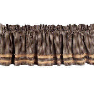 Newbury Gingham Black with Oat Trim Valance