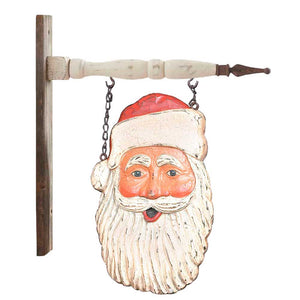 Resin Santa Face Arrow Replacement with Rustic Hanger