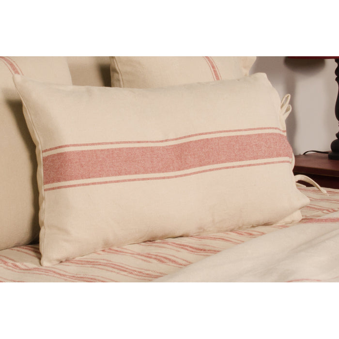 Grain Sack Stripe Oat and Barn Red Lumber Pillow Cover by Raghu