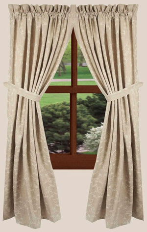 "Candlewicking Taupe 63"" Lined Cotton Curtain Panels by Raghu"