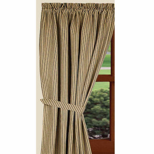 "York Ticking Black and Nutmeg 72"" x 63"" Lined Cotton Curtain Panels by Raghu"