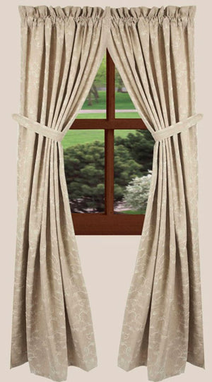 "Candlewicking Taupe 86"" Lined Cotton Drapery Panels by Raghu"