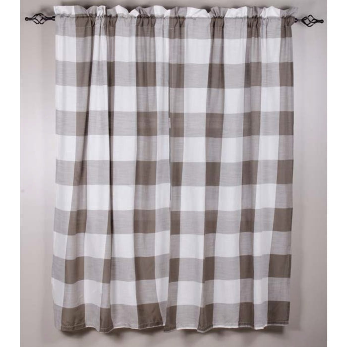 "Buffalo Check Pewter 86"" Drapery Panels by Raghu (P8511065)"