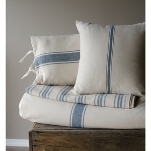 Grain Sack Stripe Colonial Blue and Cream Pillow Cover