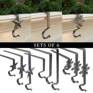 Galvanized Stocking Hangers (Set of 6)