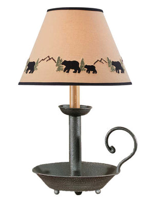 "Black Chamberstick Lamp with Black Bear 10"" Shade Included"