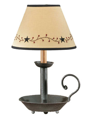 "Black Chamberstick Lamp with Black Star Vine 10"" Shade Included"