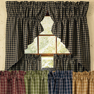 "Plaid Gathered Swag Prairie Curtain Set 36"" or 63"" Long Wine Black Navy Mustard"