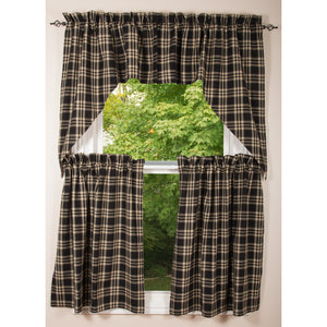 "Richman Black with Gray and Cream 72"" x 36"" Lined Cotton Curtain Tiers by Raghu"