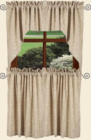Candlewicking Taupe 36 Inch Curtain Tiers by Raghu