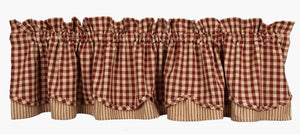 Heritage House Check Fairfield Valance Barn Red Nutmeg