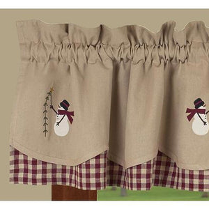 "Pine Tree Wishes Check Fairfield Barn Red and Nutmeg 72"" x 15.5"" Lined Cotton Valance by Primitive Home Decors"