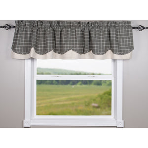"Summerville Fairfield Pewter 72"" x 15.5"" Lined Cotton Valance by Raghu"