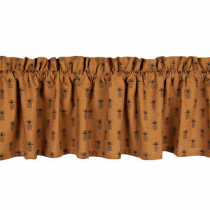 "Pineapple Town Mocha and Black 72"" x 15.5"" Lined Cotton Valance by"