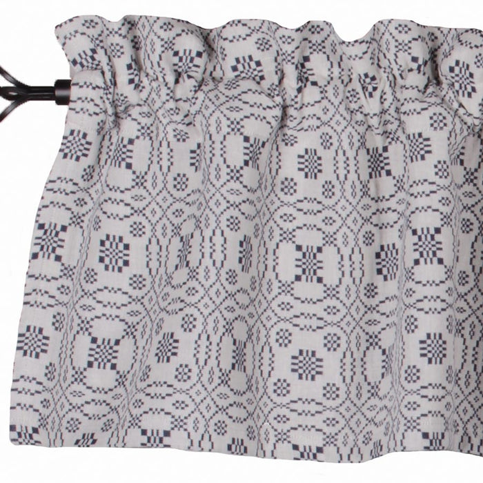"Lover's Knot Jacquard Cream and Indigo 72"" x 15.5"" Lined Woven Valance"