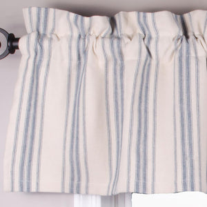 "Grain Sack Stripe Cream and Colonial Blue 72"" x 15.5"" Lined Cotton Valance by Raghu"