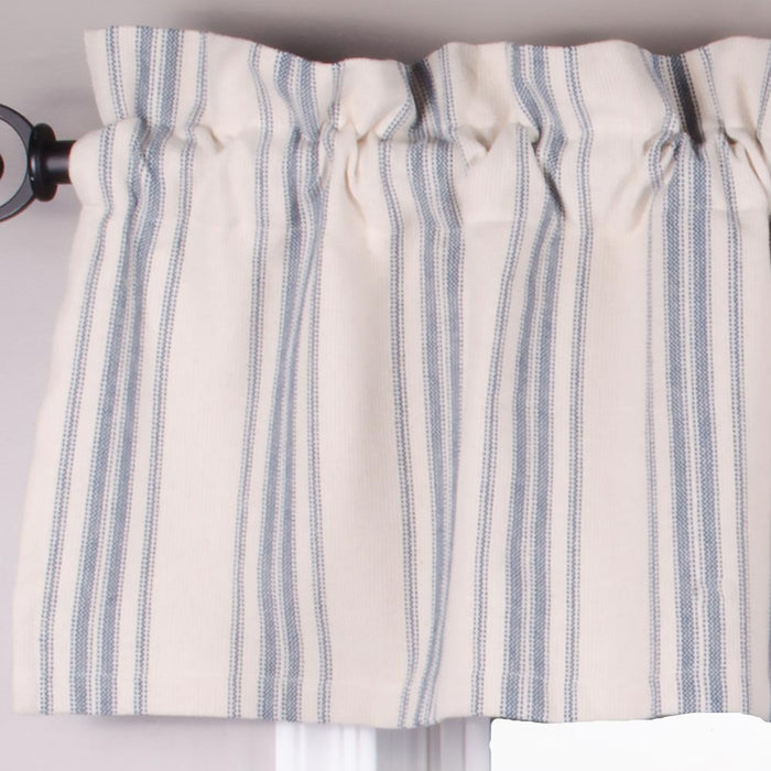 "Grain Sack Stripe Cream and Colonial Blue 72"" x 15.5"" Lined Cotton"