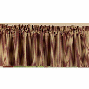 "York Ticking Barn Red and Nutmeg 72"" x 15.5"" Lined Cotton Valance by Raghu"