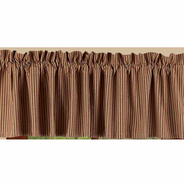 "York Ticking Barn Red and Nutmeg 72"" x 15.5"" Lined Cotton Valance by"