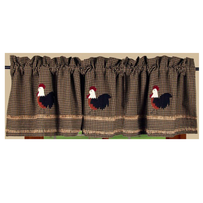 "Rise and Shine Rooster Black and Oat 72"" x 15.5"" Lined Cotton Valance"