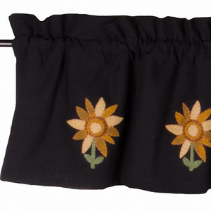 "Sunflower Power Black 72"" x 15.5"" Lined Wool and Felt Valance by Raghu"